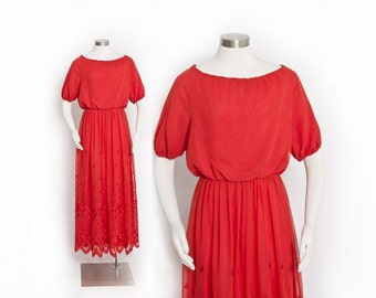 Vintage 70s Dress - Red Chiffon Embroidered Full Length Maxi 1970s - XS Extra Small