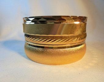Vintage MONET Lot of 5 Bracelets/Bangles Gold Plated Tone ALL SIGNED Diamond Cut Mod Retro Art Deco Statement Runway 137 Grams