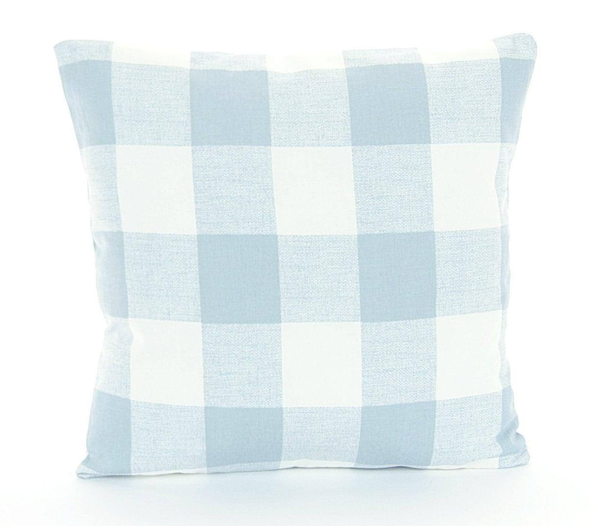 Blue White Buffalo Check Pillow Throw Pillow Cover Soft Slate