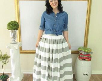Grey and White Midi Skirt, Mini Skirt or Maxi Ball skirt  full, gathered skirt all sizes custom made to order