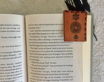 Stamped Flower Leather Bookmark