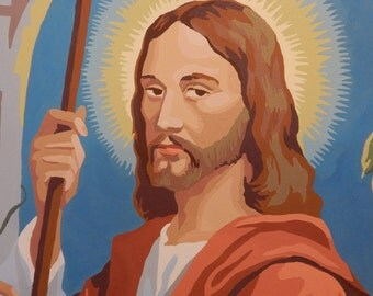 Paint by Number Jesus with Staff, Religious picture, Jesus the Shepherd Paint by Number