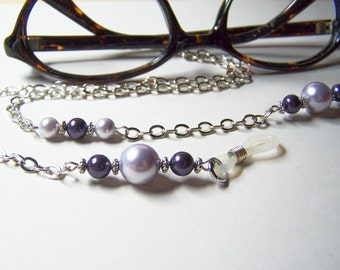 Eyeglass Leash, Purple Glass Pearls, On Silver Chain, 26 inches, Chain for Glasses, Birthday Gift