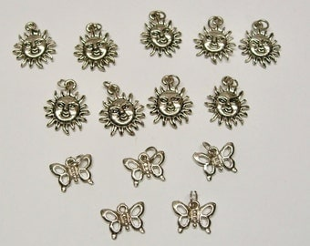 14 pc lot Sun and Butterfly charms for jewelry making earrings bracelet necklaces zipper pulls