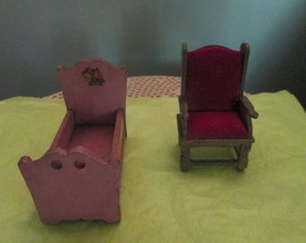 Vintage Doll House Furniture / Red Velvet Doll House Chair / Doll House Bed