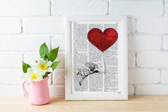 Alice in Wonderland Decor- Alice with a heart shaped Balloon, Love art, Gift, Giclee print, wall art, Nursery art ALW002