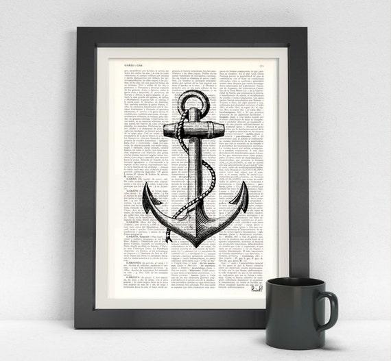 Summer Sale Vintage anchor illustratio Dictionary art Nautical art Black anchor Print wall art Seashore house decor  SEA008