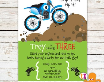 Dirt Bike, Birthday, Party, Invitations, Boys
