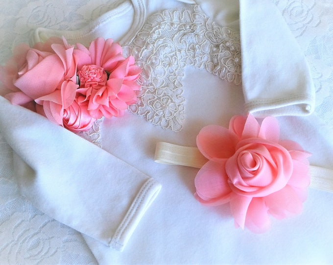 Newborn Girl beaded Ivory Lace beaded take home layette gown and Headband set