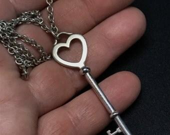 Sterling  TIFFANY Necklace.  Tiffany Key Pendant Sterling Silver. Tiffany Heart Key No.002023