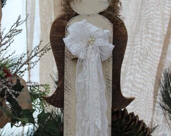 Rustic, Shabby Angel - Wooden Angel - wings - angel with lace - white angel - rustic angel - angel wings - angel - white - Christmas gift