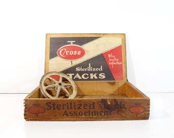 Vintage Store Display / Cross Sterilized Tacks Wood Box General Store Display / Industrial Decor