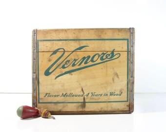 Vintage Wood Vernors Soda Pop Crate / Rustic Storage