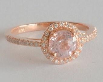 round peach sapphire engagement ring, gift for her, anniversary gift -JON round 1.2-1.3 Ct