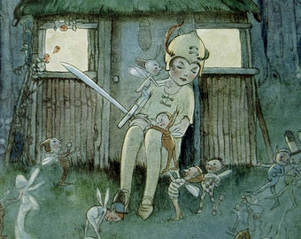 Peter Pan and Wendy - vintage 1920s book print - fairy tale nursery decor - Peter kept watch