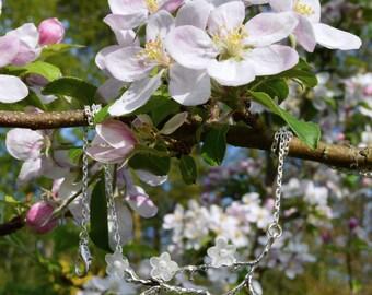 White cherry blossom necklace, spring flower pendant, sakura jewelry, mori girl twig necklace, cherry flower jewelry, white flower necklace