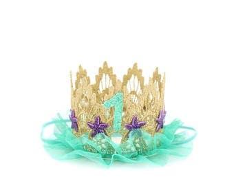 Mermaid crown     First Birthday    seafoam tulle + purple starfish    lace crown headband    customize