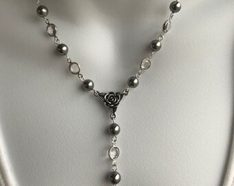 Gray pearl and crystal Y necklace and earring set