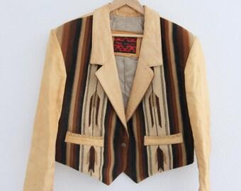 1990s Taos David Jacob Leather Jacket SW Blanket Beaded Fringe Cowgirl Western Womens Vintage Medium