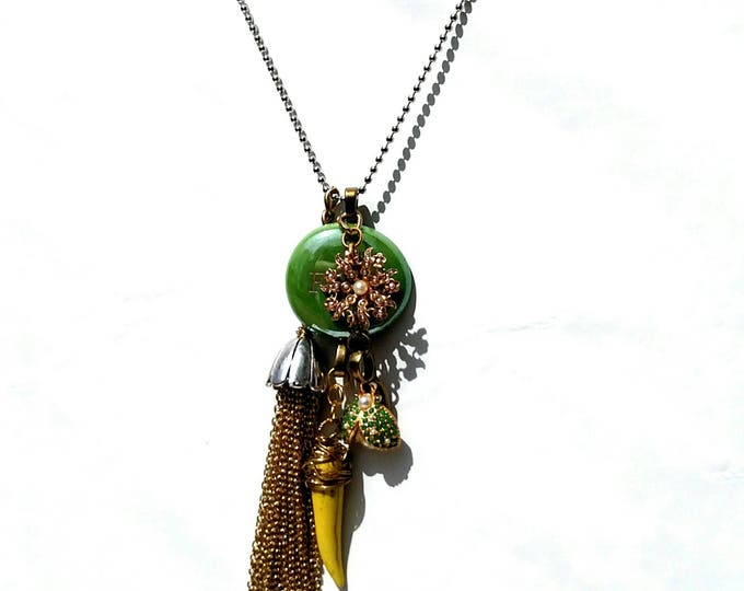 Gold Chiain Tassel Necklace with Vintage Rhinestone Ladybug and Yellow Claw in Gold, Green and Yellow