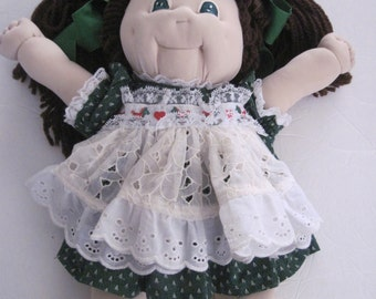 Cabbage Patch Look Alike Doll Soft Sculptured Christmas Dress