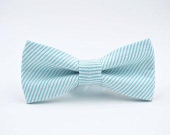 Seersucker Bow Tie, Aqua and White Stripe Seersucker, Bow Ties For Men, Wedding Bow Ties, Groomsmen Bow Ties, By AmandaJoHandmade on Etsy