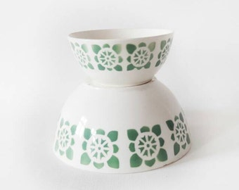 2 Mid Century East German Ceramic Nesting Salad Bowls