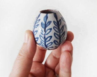 Tiny Vintage Handmade Pottery Vase with Blue Leaves