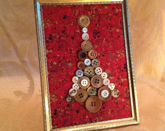 Vintage Button Christmas Tree Collage Framed Art One of a Kind