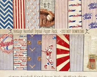 Vintage Baseball Paper Pack 14 Digital Sheets - INSTANT Download - Scrapbooking Card Making Birthday Party Decoration by Sassaby