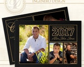 Graduation Invitation, Senior Boy,  Senior Photo Card,  Boy Invitation, Photoshop Template,  Templates, Graduation Cards, Allen J Card