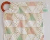 Sensory Toy, Teething Ring, Taggie Toy, Minky Lovey Blanket, Taggie Blanket, Metallic Gold, Triangle, Geometric