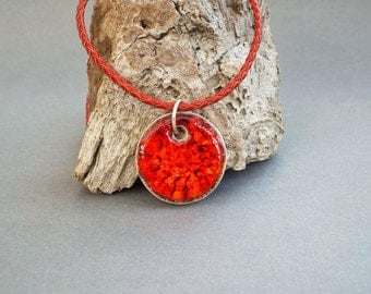Ceramic Jewelry, Girlfriend Gift, Ceramic Necklace, Orange Pendant, Womens Gift, Gift for Her, Leather Jewelry