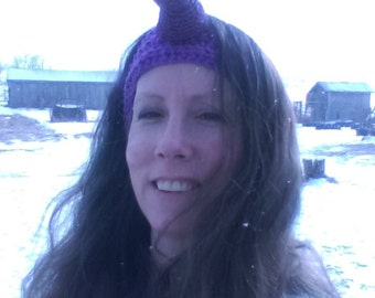 Unicorn Earwarmer, crochet headwrap horn