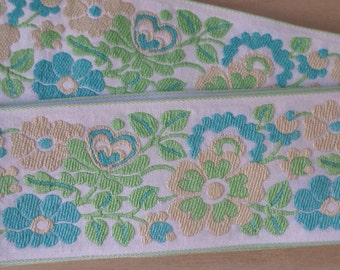 floral embroidered trim, jacquard ribbon trim, brocade floral trim, pastel floral ribbbon, woven ribbon, 2 inch wide x 4 yards long