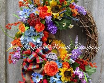 Summer Wreath, Summer Floral Wreath, Country French Wreath, Designer Floral Wreath, Sunflower Wreath, Garden Wreath, Country Cottage Wreath