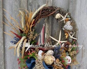 Sailboat Wreath, Beach Wreath, Summer Cottage Wreath, Shell Wreath, Coastal Wreath, Nautical Wreath, Rustic Beach Wreath, Summer Wreath
