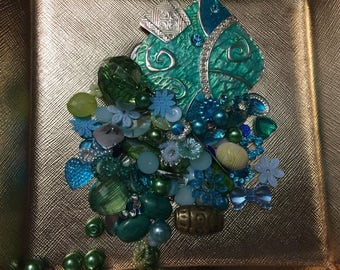 Vintage and New Baby Blue & Sea Blue Destash Supplies Lot/ Junk Jewelry/Has Pearls, Beads, Cabochons/ Over 50 items/ Jewelry Making Supplies