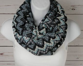 Chevron Infinity Scarf in Black Aqua Blue and Gray with Silver Metallic for a Touch of Sparkle Zig Zag Knit Infinity Scarf by Thimbledoodle
