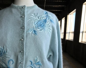50s Powder Blue Embroidered Cardigan