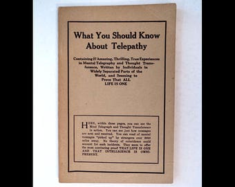 1928 Esoteric Booklet - What You Should Know about Telepathy - ESP / Telepathic Powers - Publisher L. N. Fowler & Co.