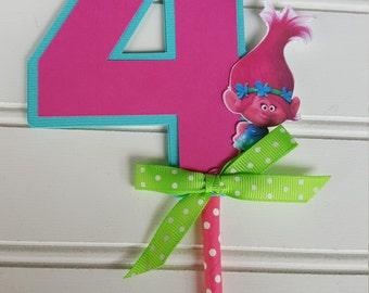 Trolls Cake Topper, Troll Party decorations. Trolls Birthday.Princess Poppy Topper Troll Banner. Birthday Decorations. Trolls Cupcake topper