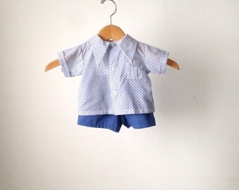 vintage 60s BOYS soft classic button up shirt & shorts combo suit size 6 mos. months newborn clothes