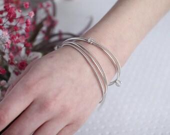 Silver Stacking Herkimer Bangle, Set of 5 Bangles, Friendship Gift, Herkimer Diamond Bangle, Herkimer Bracelet, Gemstone Bracelet, Quartz