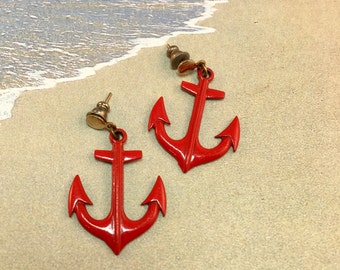 Vintage Red Anchor Post Earrings, Enameled Nautical Anchor,  1 and 3/8 Inches Long 7/8 Inches Wide