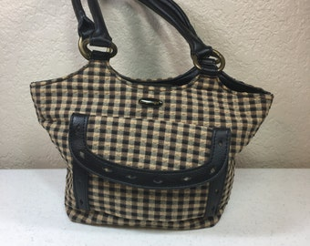 Vintage Longaberger Brown and Black Plaid Purse 10.5 Inches Wide 6.5 Inches Tall (j)