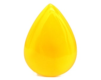 Yellow Onyx Cabochon Stone (39mm x 28mm x 5mm) - Drop Cabochon - Gemstone Cabochon