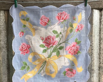 Vintage Pink and Blue Floral Hanky with Roses 1474