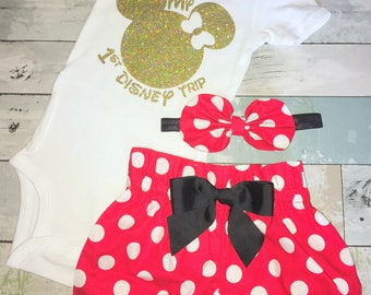 My 1st Disney Trip Onesie, Minnie Mouse girl Onesie, Knot Bow Headband, Complete Baby or Toddler Set, First Minnie Onesie, First Disney Trip