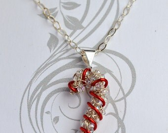 Holiday Candy Cane Pendant Necklace